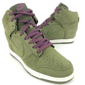 Nike Sky Hi Dunk Wedge Olive Green Suede 528899-20